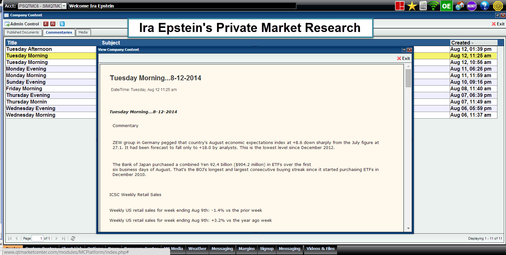Ira's Private Market Research